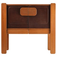 Walnut and Leather Postmodern Cabinet