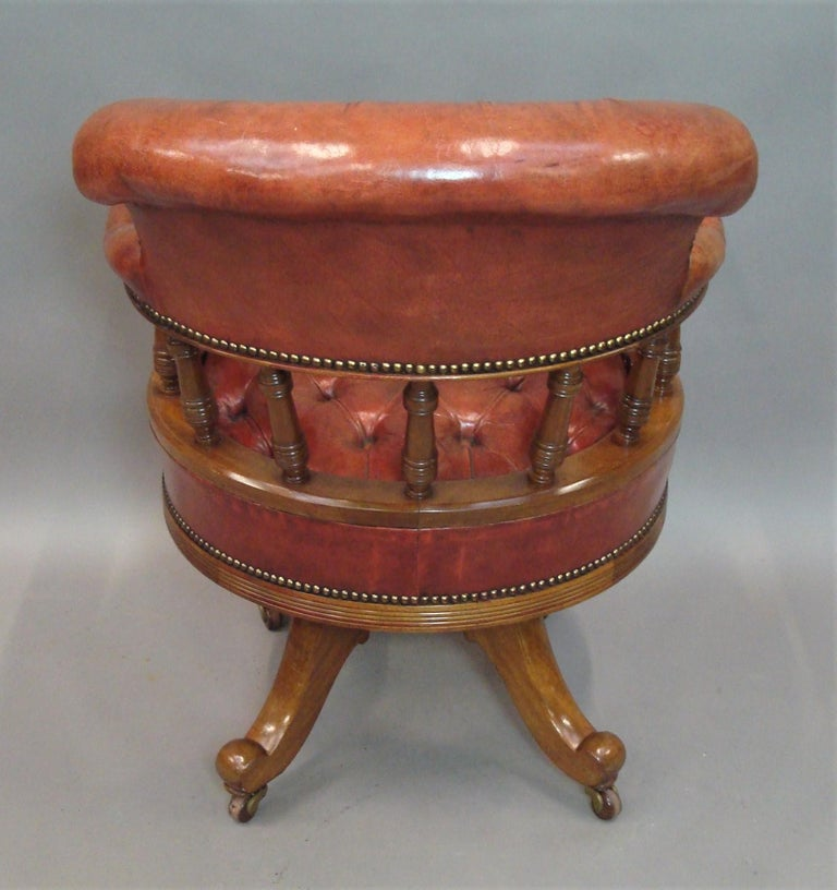 Walnut and Leather Revolving Desk Chair, 19th Century 15