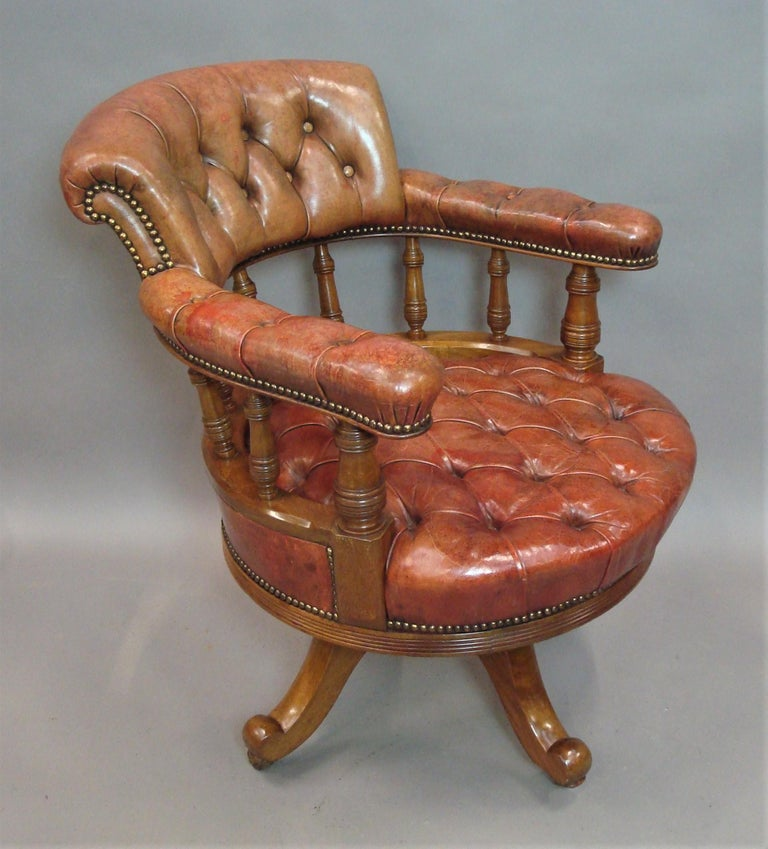 Walnut and Leather Revolving Desk Chair, 19th Century 16