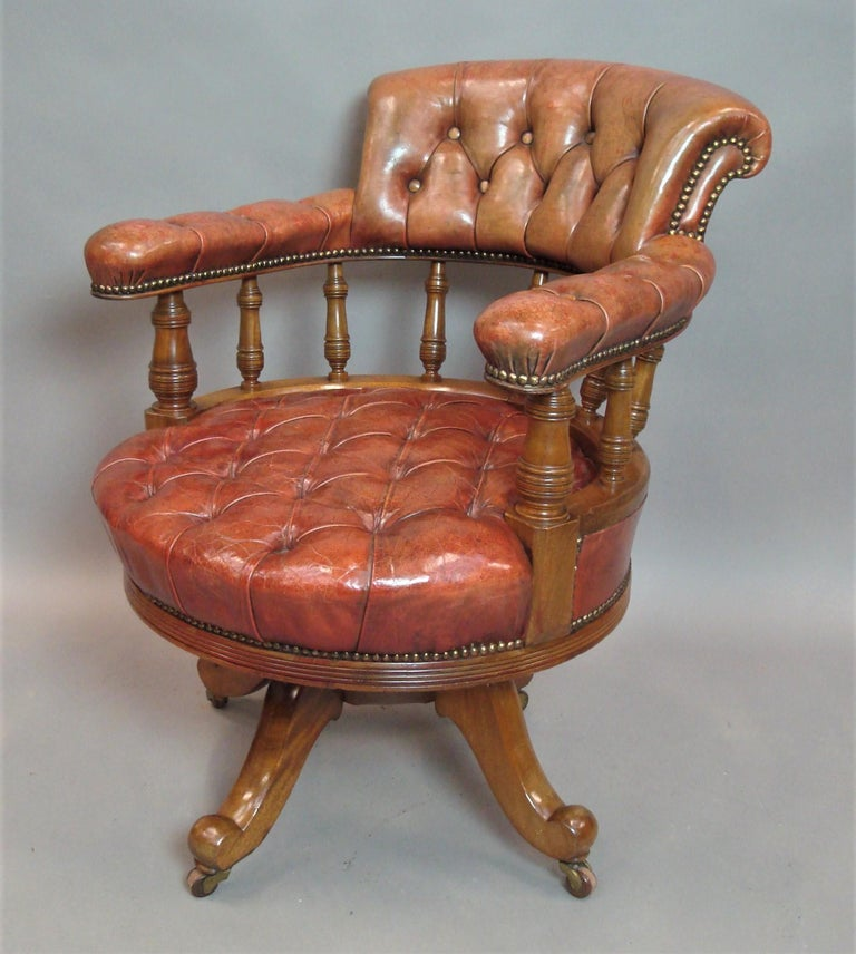 Walnut and Leather Revolving Desk Chair, 19th Century 2