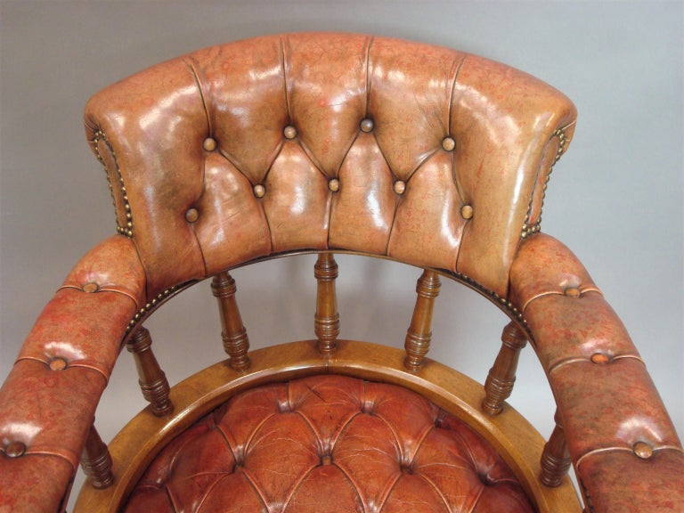 Walnut and Leather Revolving Desk Chair, 19th Century 9