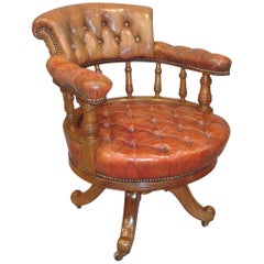 Walnut and Leather Revolving Desk Chair, 19th Century