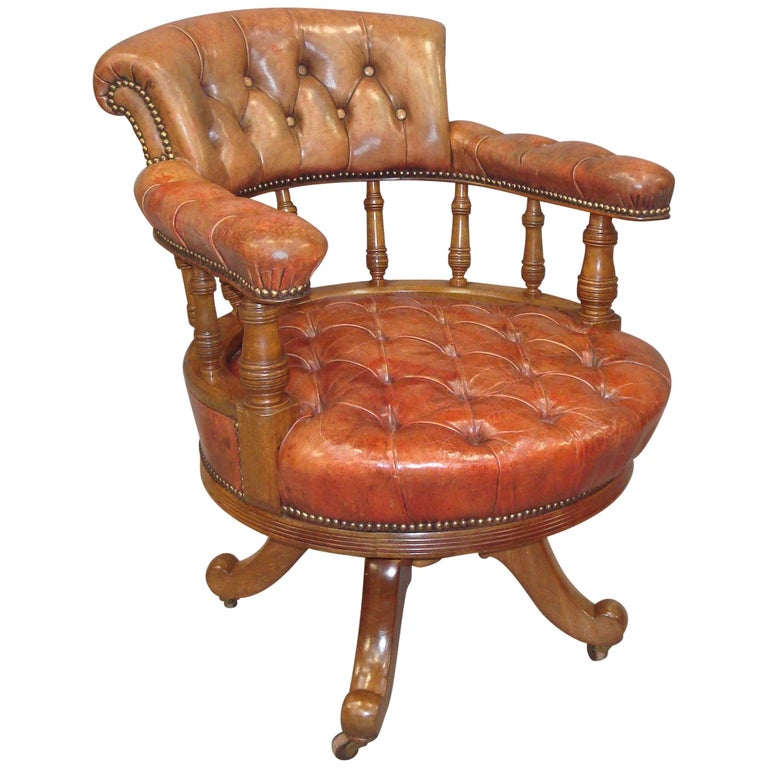 Walnut and Leather Revolving Desk Chair, 19th Century 1