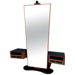 Walnut and Maple Entryway Mirror Organizer with Black Glass Tops, Italy 1950s
