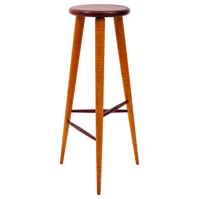 Walnut and Maple Studio Stool or Pedestal