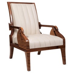 Walnut and Maple Wood Modern Armchair with Decorative Swans, Made in Italy