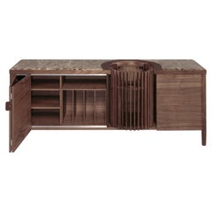 Walnut and Marble Sideboard Credenza
