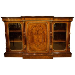 Walnut and Marquetry Inlaid Credenza