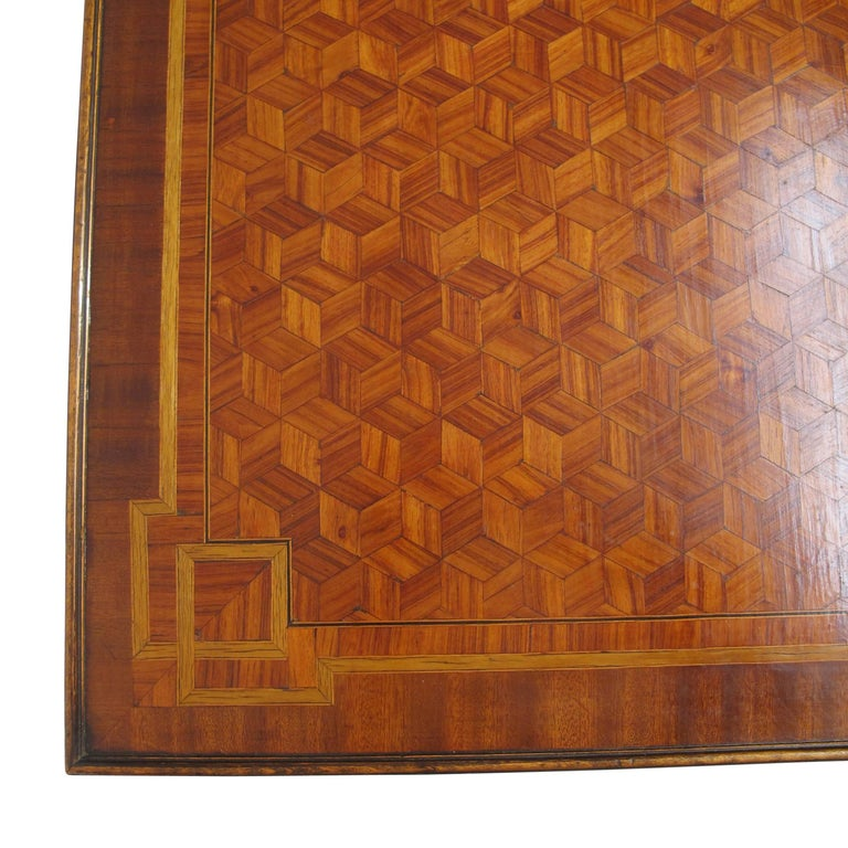 Walnut and Mixed Fruitwood Parquetry Side Table, French, 18th Century For Sale 9