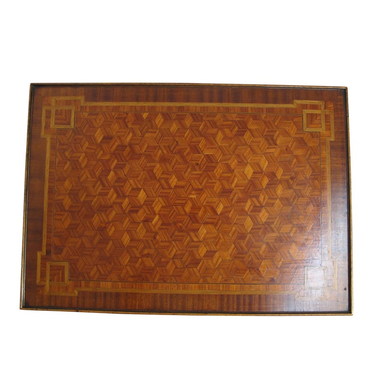 Walnut and Mixed Fruitwood Parquetry Side Table, French, 18th Century For Sale 10