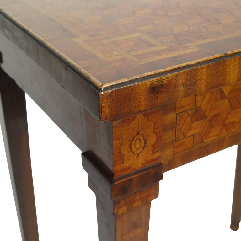 Walnut and Mixed Fruitwood Parquetry Side Table, French, 18th Century For Sale 11