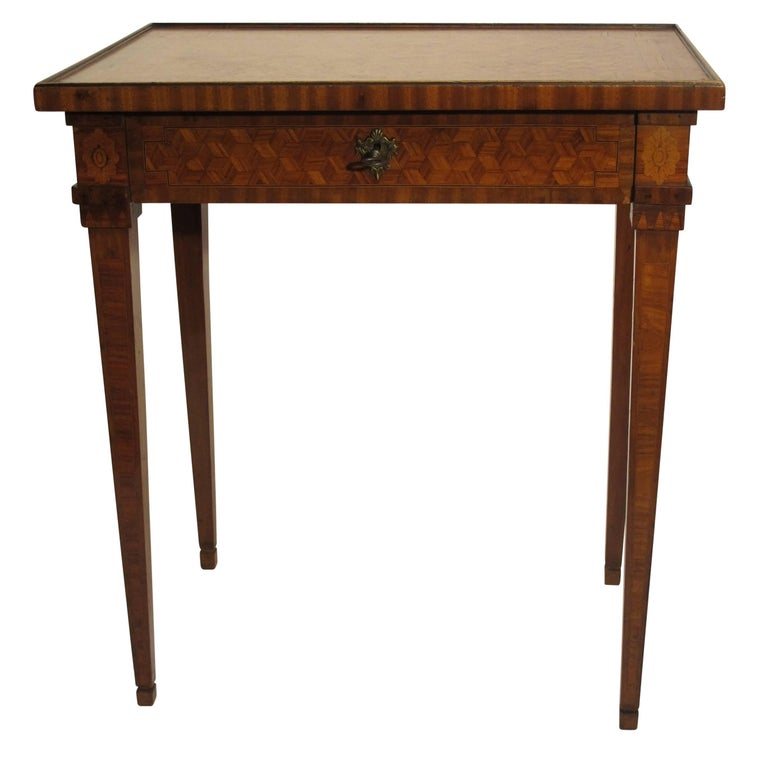 Inlay Walnut and Mixed Fruitwood Parquetry Side Table, French, 18th Century For Sale