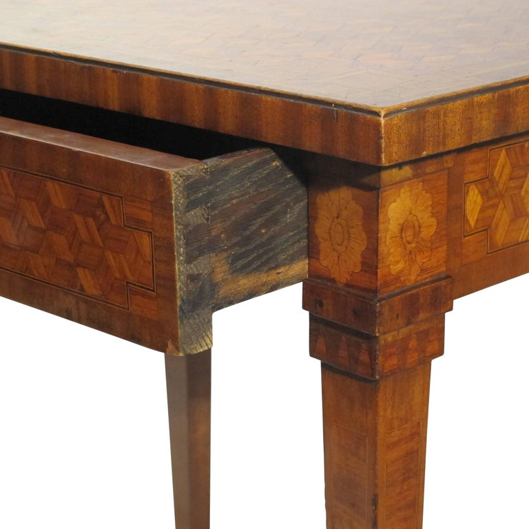 Walnut and Mixed Fruitwood Parquetry Side Table, French, 18th Century For Sale 1
