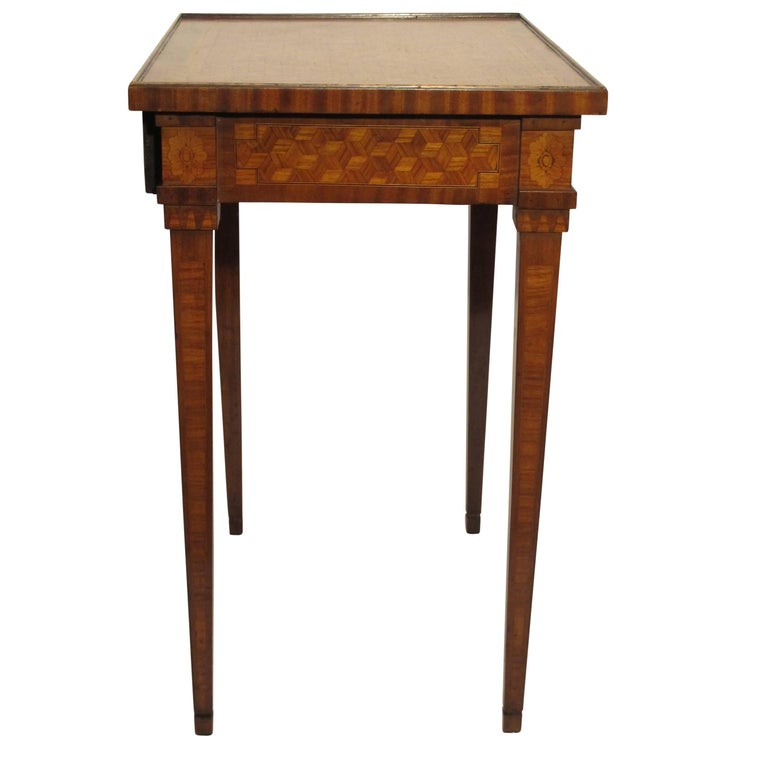 Walnut and Mixed Fruitwood Parquetry Side Table, French, 18th Century For Sale 2