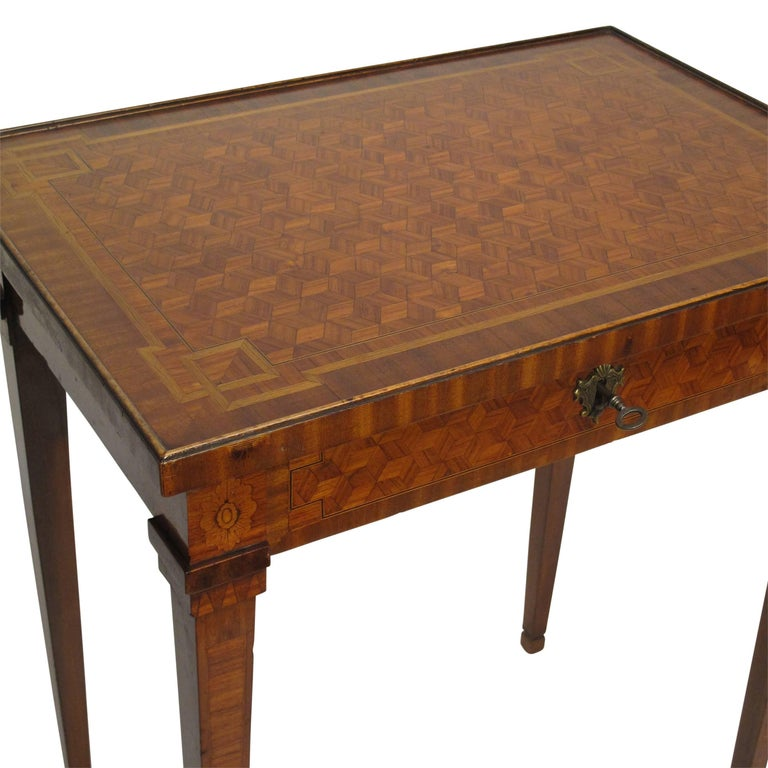 Walnut and Mixed Fruitwood Parquetry Side Table, French, 18th Century For Sale 3
