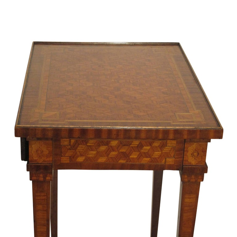 Walnut and Mixed Fruitwood Parquetry Side Table, French, 18th Century For Sale 4