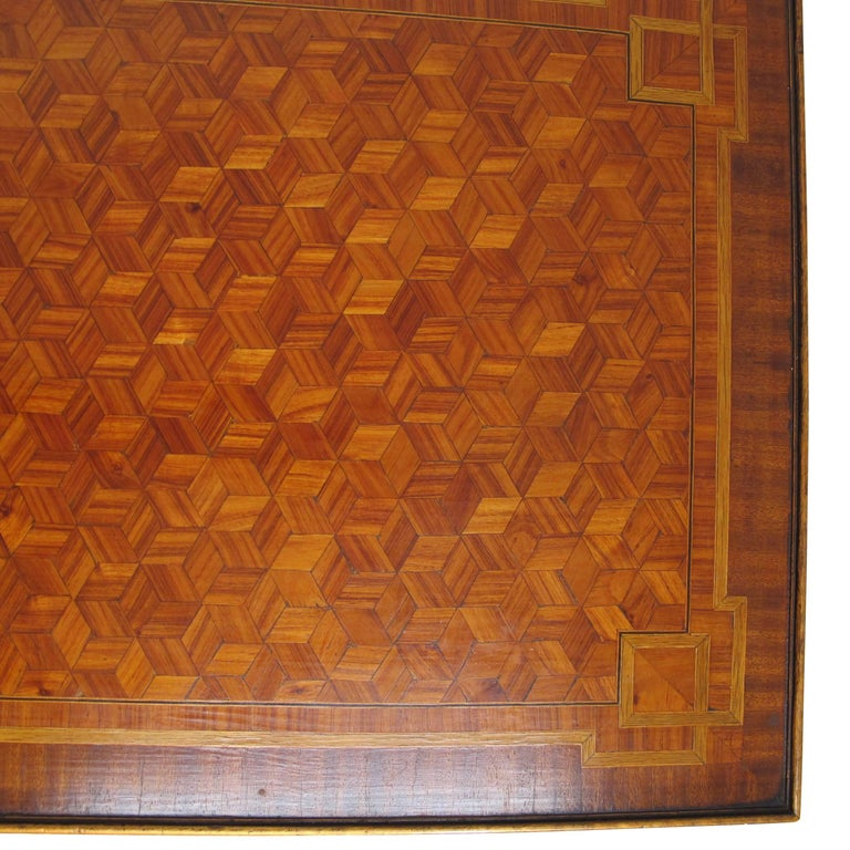 Walnut and Mixed Fruitwood Parquetry Side Table, French, 18th Century For Sale 5