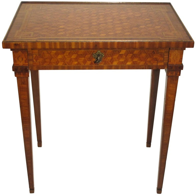 Walnut and Mixed Fruitwood Parquetry Side Table, French, 18th Century For Sale