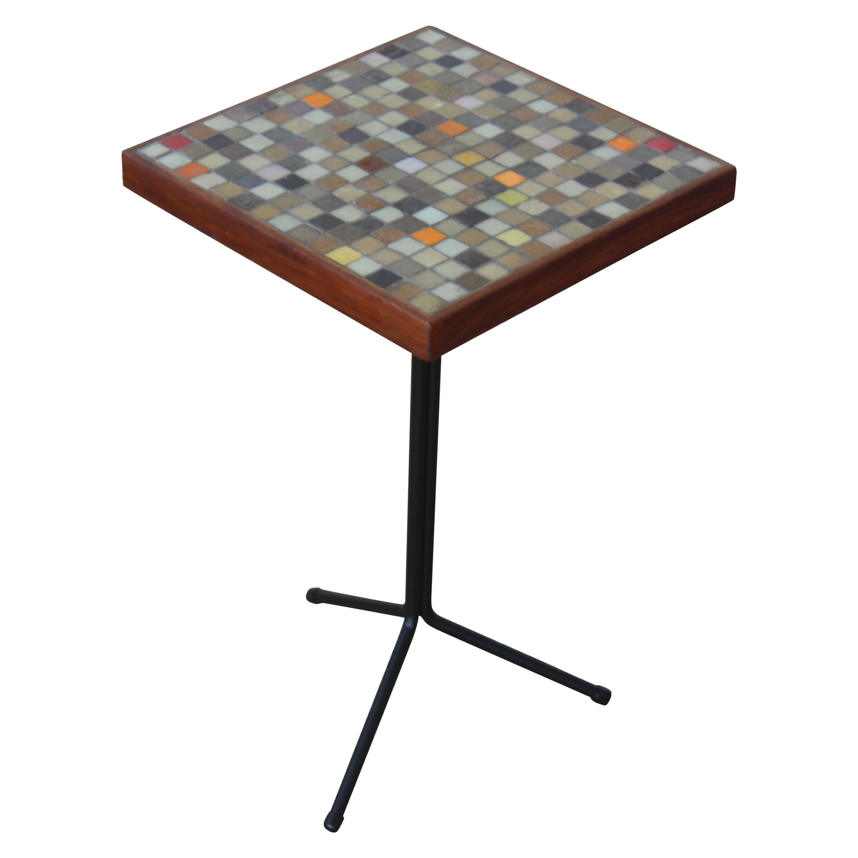 Walnut and Murano Glass Mosaic Side Table, U.S.A, 1950s