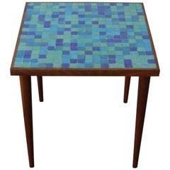 Walnut and Murano Glass Tile Side Table, USA, 1950s