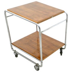 Walnut and Nickel-Plated Metal Serving Cart Produced by Cova, Italy, 1940s