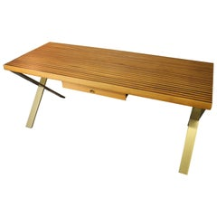 Walnut and Oak Laminate Desk with Custom Metal Legs