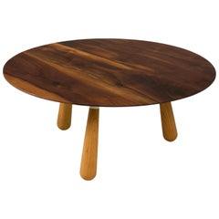 Walnut and Oak Round Coffee Table by Oluf Lund, Denmark 2018