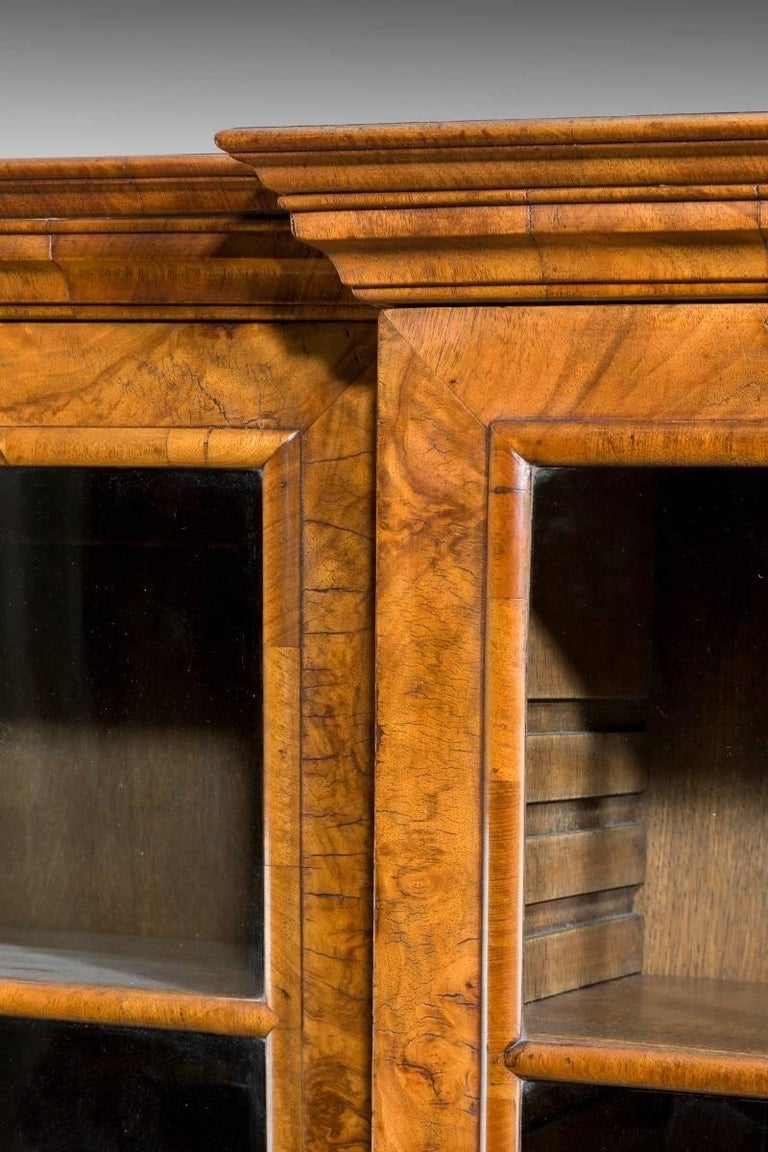 English Walnut and Oyster Veneered Breakfront Four-Door Bookcase, England, 1920 For Sale