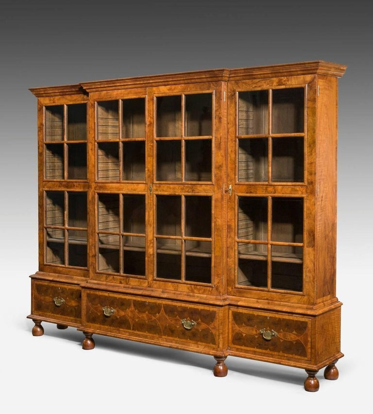 Early 20th Century Walnut and Oyster Veneered Breakfront Four-Door Bookcase, England, 1920 For Sale