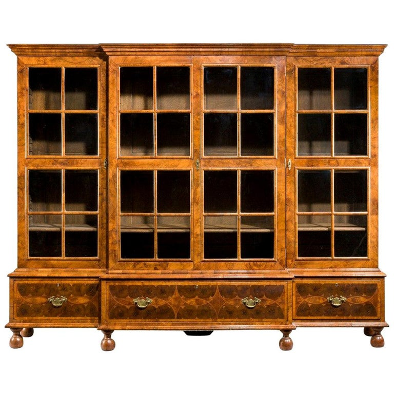Walnut and Oyster Veneered Breakfront Four-Door Bookcase, England, 1920 For Sale
