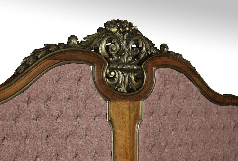 20th Century Walnut and Parcel-Gilt King-Size Bed For Sale
