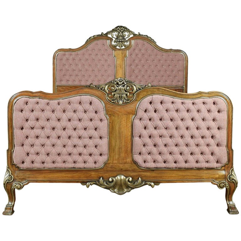 Walnut and Parcel-Gilt King-Size Bed For Sale