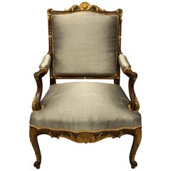 Walnut and Parcel-Gilt Louis XV Style Armchair