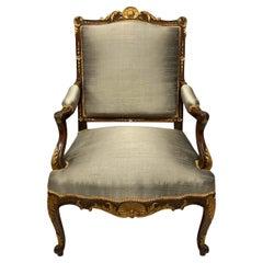 Walnut and Parcel-Gilt Louis XV Style Armchair