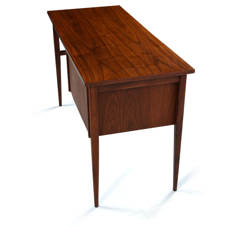 American Walnut and Rosewood Mid-Century Modern Desk with Brass Knobs