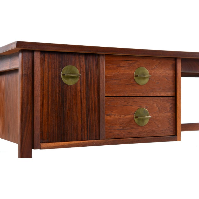 Walnut and Rosewood Mid-Century Modern Desk with Brass Knobs 1