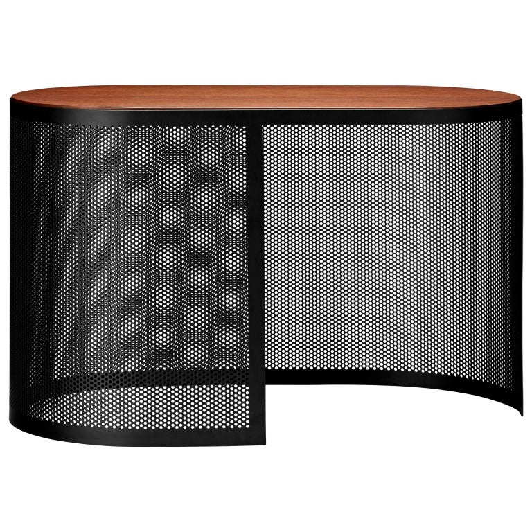 Walnut and steel contemporary side table Dimensions: L 70 x W 35 x H 43.3 CM Materials: Steel, MDF with walnut veneer   This tables can be placed in any room that calls for extra creative space. They are made of perforated metal in black and