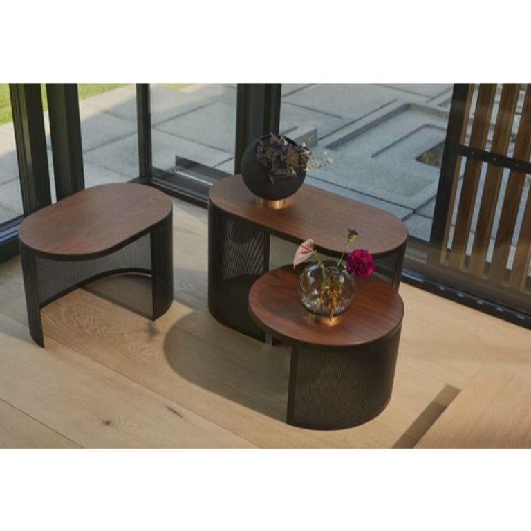 Walnut and Steel Contemporary Side Table For Sale 1