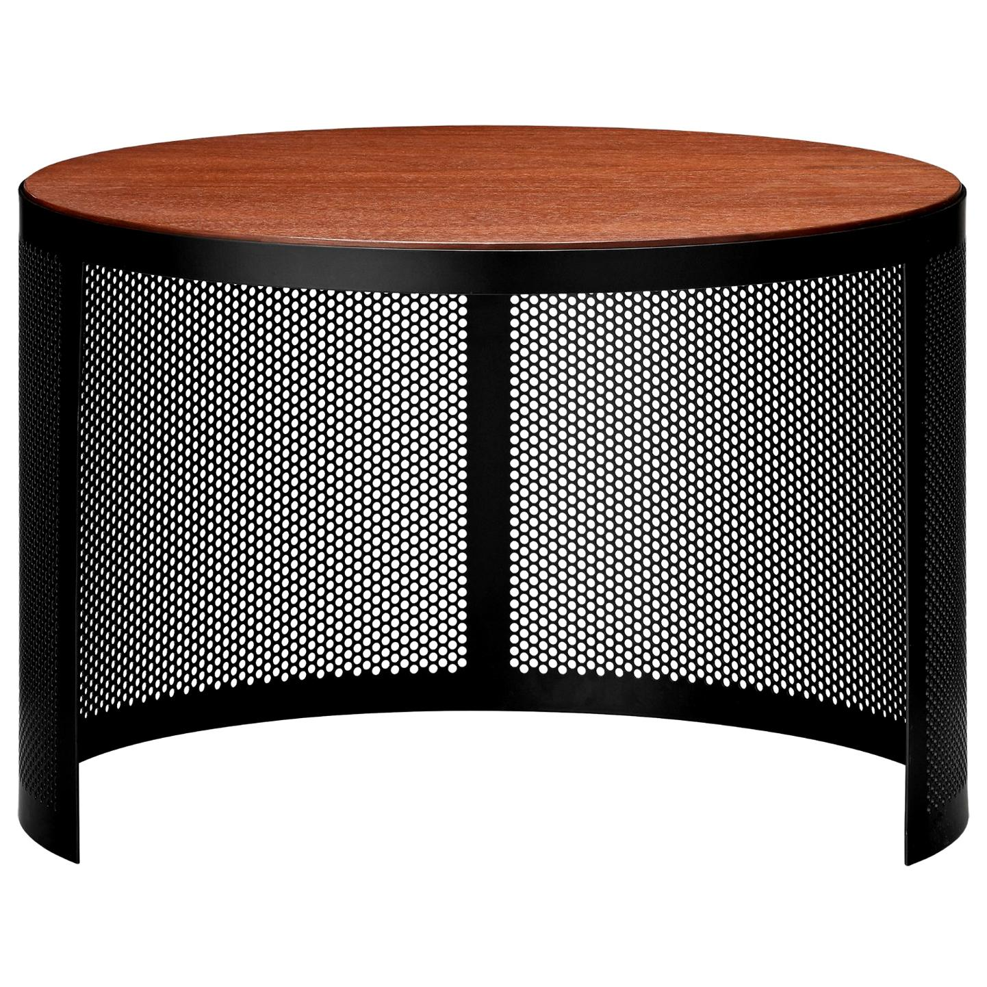 Walnut and Steel Contemporary Small Side Table