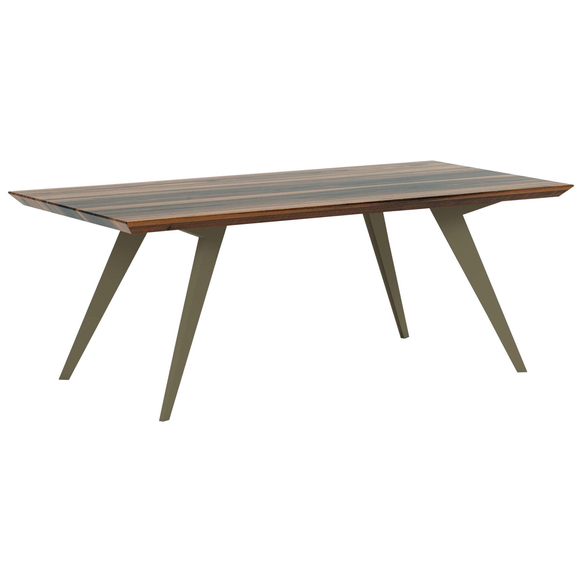 Walnut and Steel Minimalist 250 Dining Table