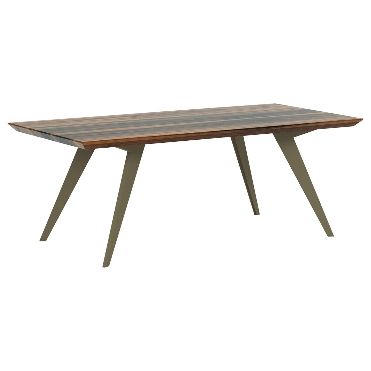 Walnut and Steel Minimalist 400 Dining Table