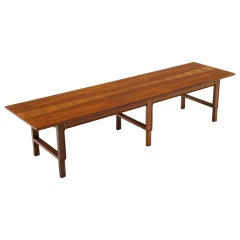 Walnut and Teak Coffee Table or Bench by Edward Wormley for Dunbar