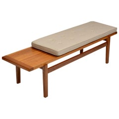 Walnut and Upholstered Bench by Jens Risom