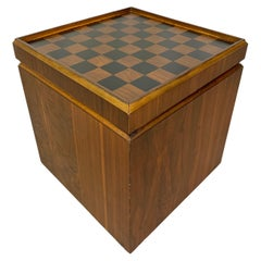 Walnut and Vinyl Chess Table with Storage