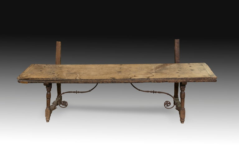 Spanish Walnut and Wrought Iron Bench, 17th Century For Sale