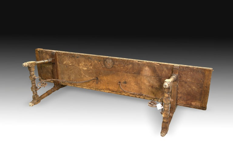 18th Century and Earlier Walnut and Wrought Iron Bench, 17th Century For Sale