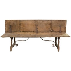 Walnut and Wrought Iron Bench, 17th Century