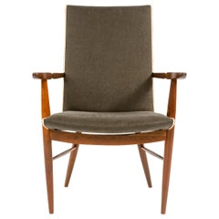 Walnut Armchair in Linen Upholstery by Nakashima