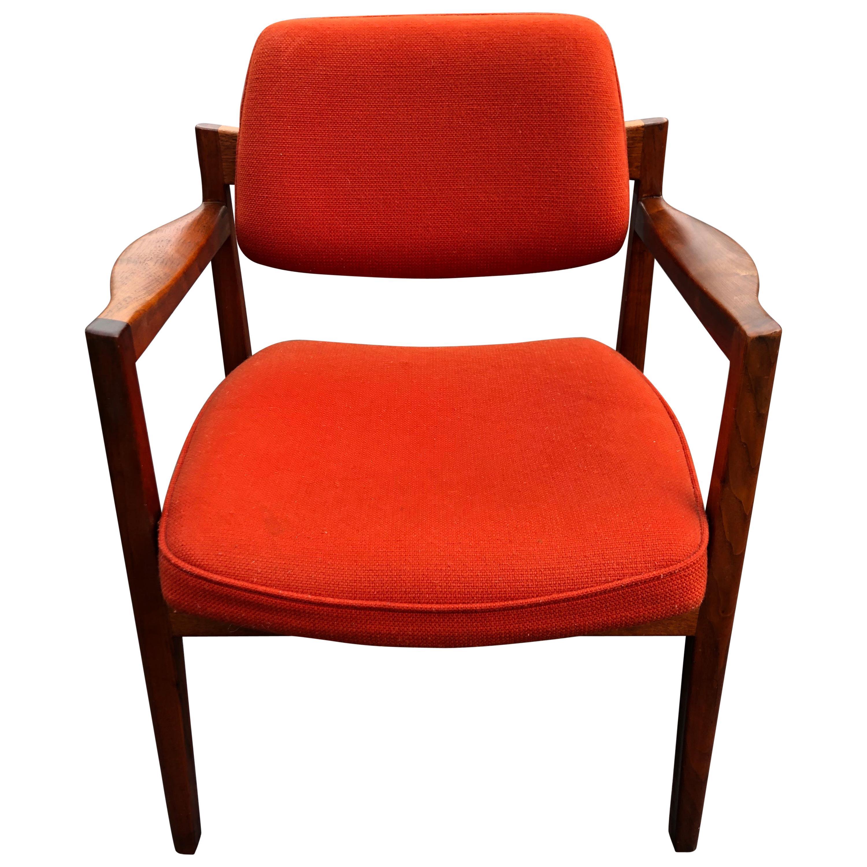 Walnut Armchair in the Style of Jens Risom