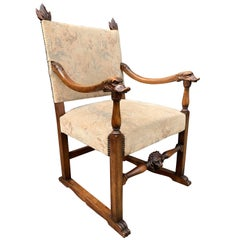 Walnut Armchair with Hand Carved Lion Head and Swan Sculptures as Armrests